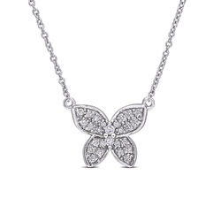 1/8 CT. T.W. Diamond Butterfly Necklace in 10k White Gold product photo