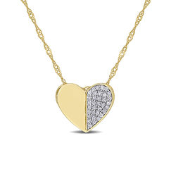 1/10 CT. T.W. Diamond Laser-Cut Heart Necklace in 10k Yellow Gold product photo