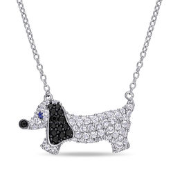 Dog Necklace with Lab-Created Blue and White Sapphire & Black Spinel product photo
