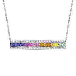 Rainbow Bar Necklace with Lab-Created Multi-Color Sapphires in product photo