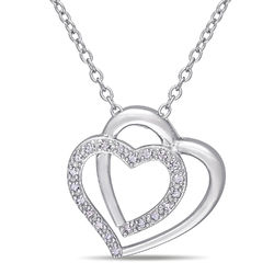 1/10 CT. T.W. Diamond Doble Heart Pendant in Sterling Silver product photo