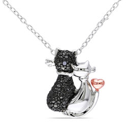 Black Diamond Cats Necklace in Sterling Silver with Rose Gold Plated product photo