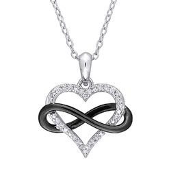 1/10 CT. T.W. Diamond Heart Pendant in Sterling Silver with Black product photo