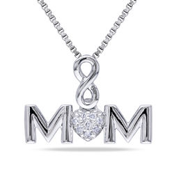 Mom Infinity Love Necklace in Sterling Silver with Diamonds product photo