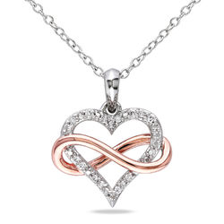 1/10 CT. T.W. Diamond Heart Pendant in Sterling Silver with Rose Gold product photo