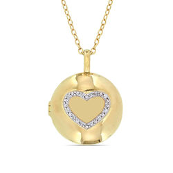 Locket Pendant Necklace in Gold Plated Sterling Silver with Diamond product photo