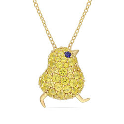 Chick Necklace with Lab-Created Blue and Yellow Sapphire in Gold product photo