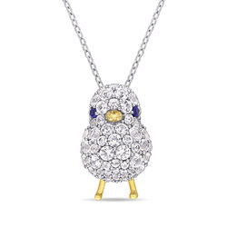 Chick Necklace with Lab-Created Blue and White Sapphire in Sterling product photo
