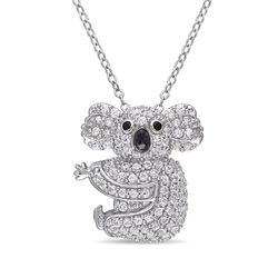 Koala Necklace with Lab-Created White Sapphire & Black Spinel in product photo