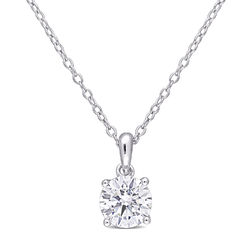 1 C.T T.G.W. Moissanite Solitaire Pendant in Sterling Silver product photo