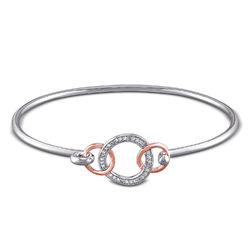 1/10 CT. T.W. Diamond Infinity Circle Bangle in Sterling Silver with product photo