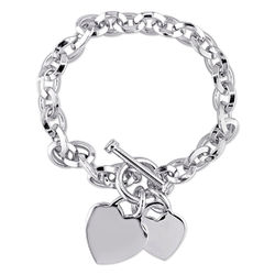 Oval Link Bracelet with Sterling Silver Heart Charms & Toggle Clasp product photo