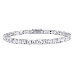 4.0mm Round Lab-Created White Sapphire Tennis Bracelet in Sterling product photo