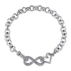1/10 CT. T.W. Diamond Forever Love Bracelet in Sterling Silver product photo