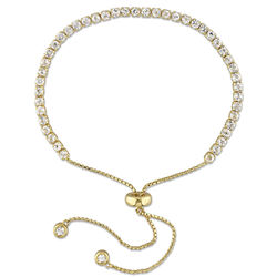 2.5mm White Topaz Bolo Bracelet in Gold Plated Sterling Silver product photo