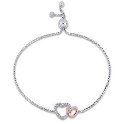 1/10 CT. T.W. Diamond Interlocked Hearts Bolo Bracelet in Sterling product photo