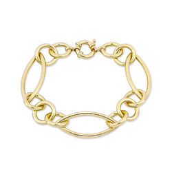 Fancy Link Bracelet in Gold Plated Sterling Silver with Big Stylish product photo