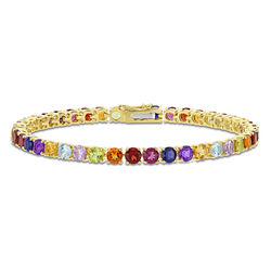 4.0mm Multi-Gemstone Tennis Bracelet in Gold Plated Sterling Silver product photo