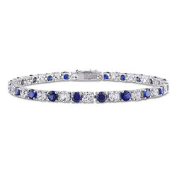 14 1/4 CT TGW Created Blue & White Sapphire Bracelet in Sterling product photo