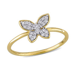 1/8 CT. T.W. Diamond Butterfly Ring in 10k Yellow Gold product photo