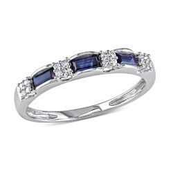 Baguette-Cut Sapphire Eternity Ring in 10k White Gold with Diamonds product photo