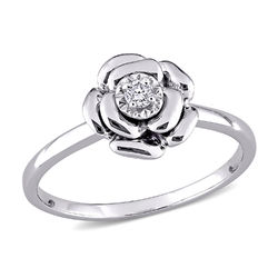 Diamond Rose Flower Ring in Sterling Silver product photo