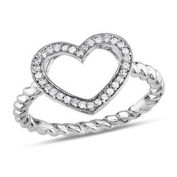 1/8 CT. T.W. Diamond Heart Ring in Sterling Silver product photo