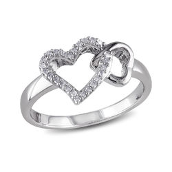 1/10 CT. T.W. Diamond Interlocked Hearts Ring in Sterling Silver product photo