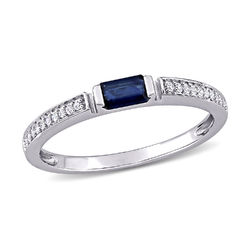 1/10 CT. T.W. Diamond and 1/3 CT. T.G.W. Octagonal-Cut Sapphire Ring product photo