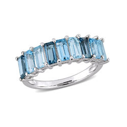 Baguette Ring with 3-Tones Blue Topaz Gemstones in Sterling Silver product photo
