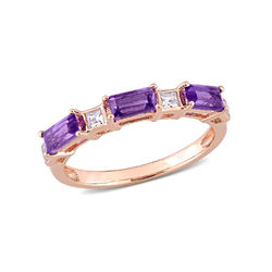 Baguette Ring with Amethyst and White Topaz Gemstones in 10k Rose Gold product photo