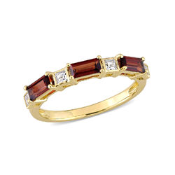 Baguette Ring with Garnet and White Topaz Gemstones in 10k Yellow Gold product photo