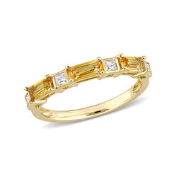 Baguette Ring with Citrine and White Topaz Gemstones in 10k Yellow product photo