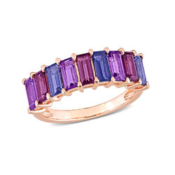 Baguette Ring with Amethyst, Rhodolite and Iolite Gemstones in Rose product photo