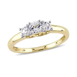 5/8 C.T T.G.W. Lab-grown White Sapphire 3-Stone Ring in 10K Yellow product photo
