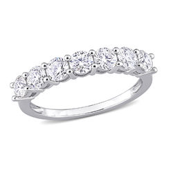 1 C.T T.G.W. Moissanite Semi-Eternity Ring in Sterling Silver product photo