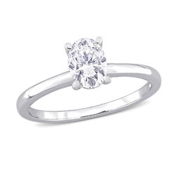 1 C.T T.G.W. Moissanite Oval-cut Ring in Sterling Silver product photo