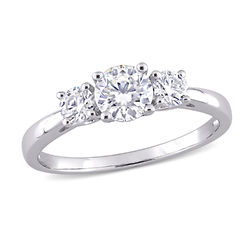 1 C.T T.G.W. Moissanite 3-stone Ring in Sterling Silver product photo