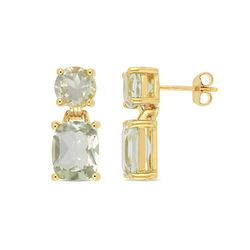 Cushion-Cut and Round Green Quartz Drop Earrings in Gold Plated product photo