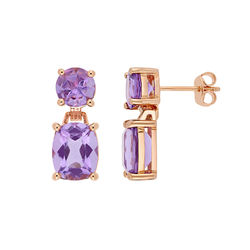 Cushion-Cut and Round Amethyst Drop Earrings in Rose Gold Plated product photo