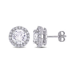 8.0mm Lab-Created White Sapphire Frame Stud Earrings in Sterling product photo