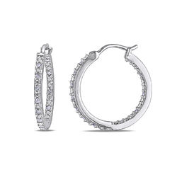 1/4 CT. T.W. Diamond Inside-Out Hoop Earrings in Sterling Silver product photo
