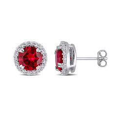 8.0mm Lab-Created Ruby and White Sapphire Frame Stud Earrings in product photo