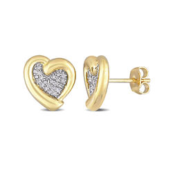 1/6 CT. T.W. Diamond Heart Stud Earrings in Gold Plated Sterling product photo