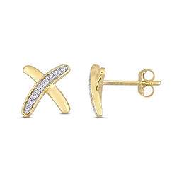 1/10 CT. T.W. Diamond X Stud Earrings in 10k Yellow Gold product photo