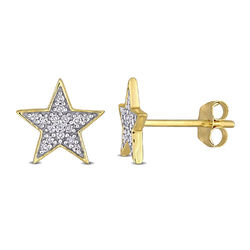 1/10 CT. T.W. Diamond Star Stud Earrings in 10k Yellow Gold product photo