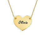 10K Gold Heart Necklace with Engraving