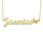 10K Solid Gold Butterfly Name Necklace