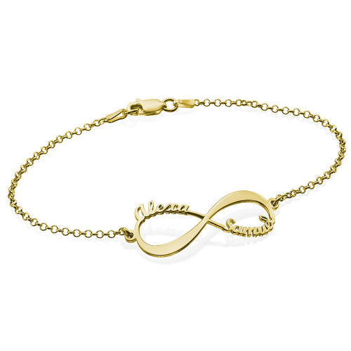 14K Gold Infinity Bracelet with Names