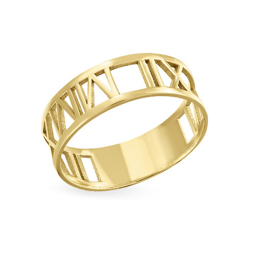 3a9b130af 14K Gold Roman Numeral Ring | My Name Necklace